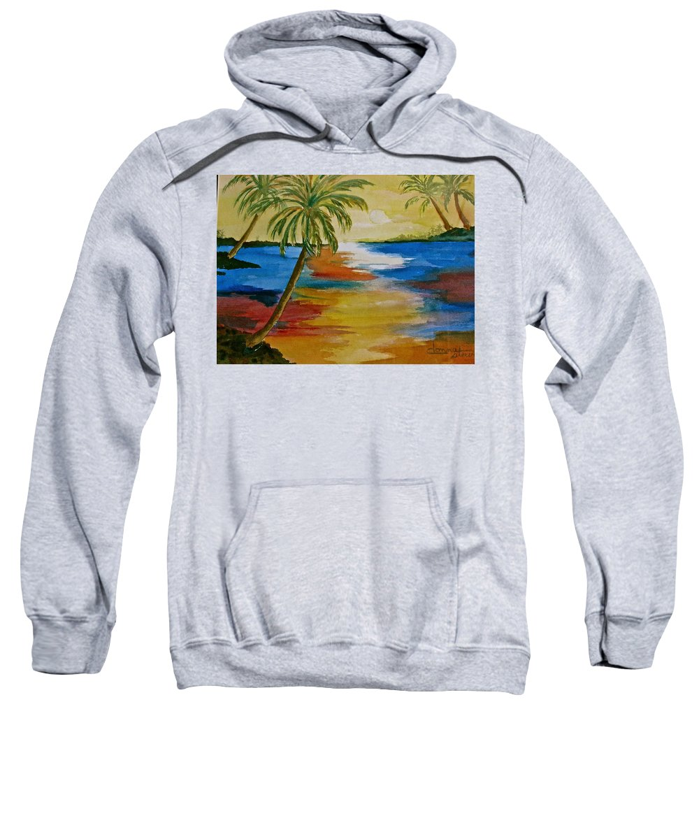 Colorful Sweatshirt featuring the painting Last Light by Donna Steward