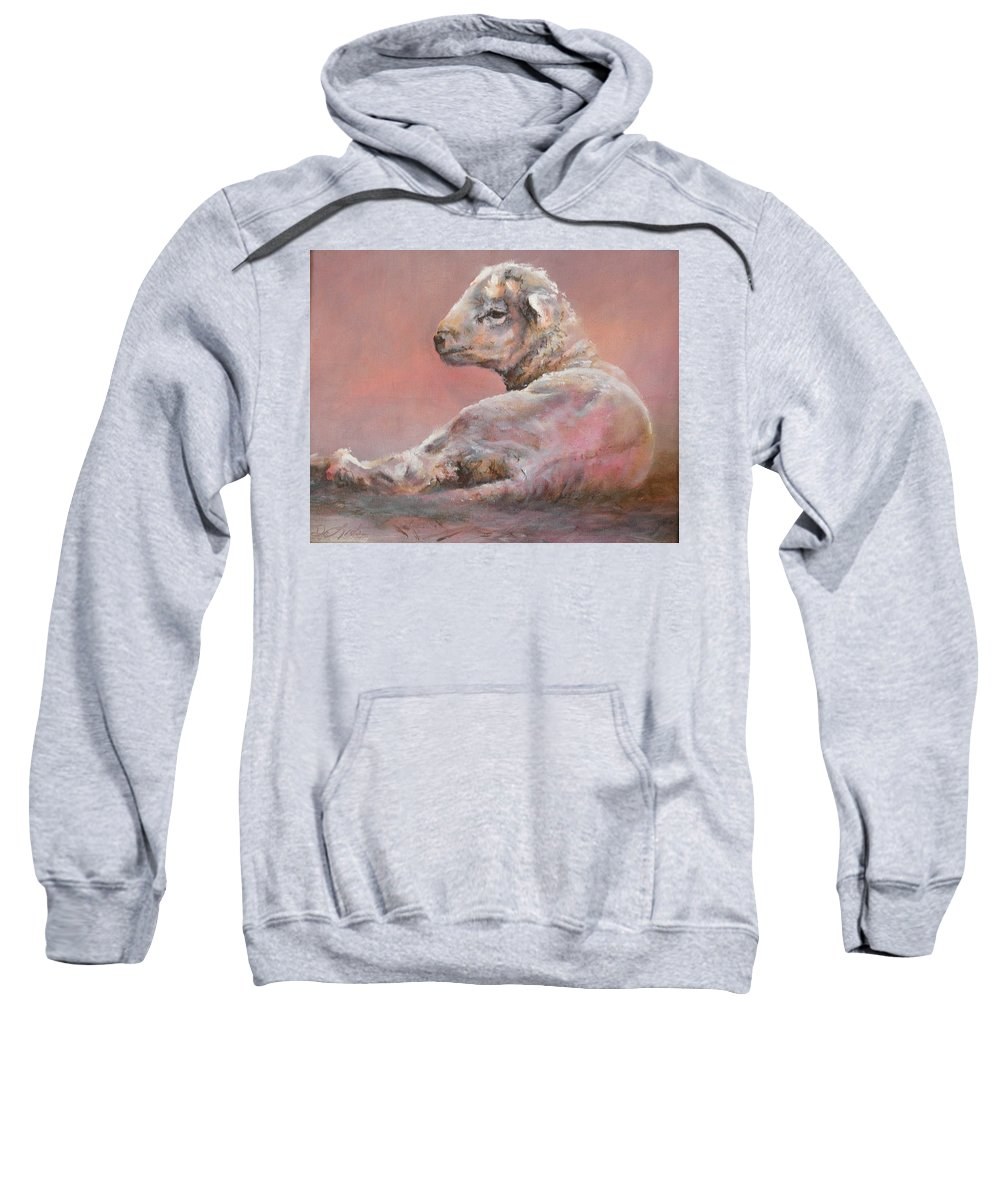 Sheep Sweatshirt featuring the painting Last Light by Mia DeLode