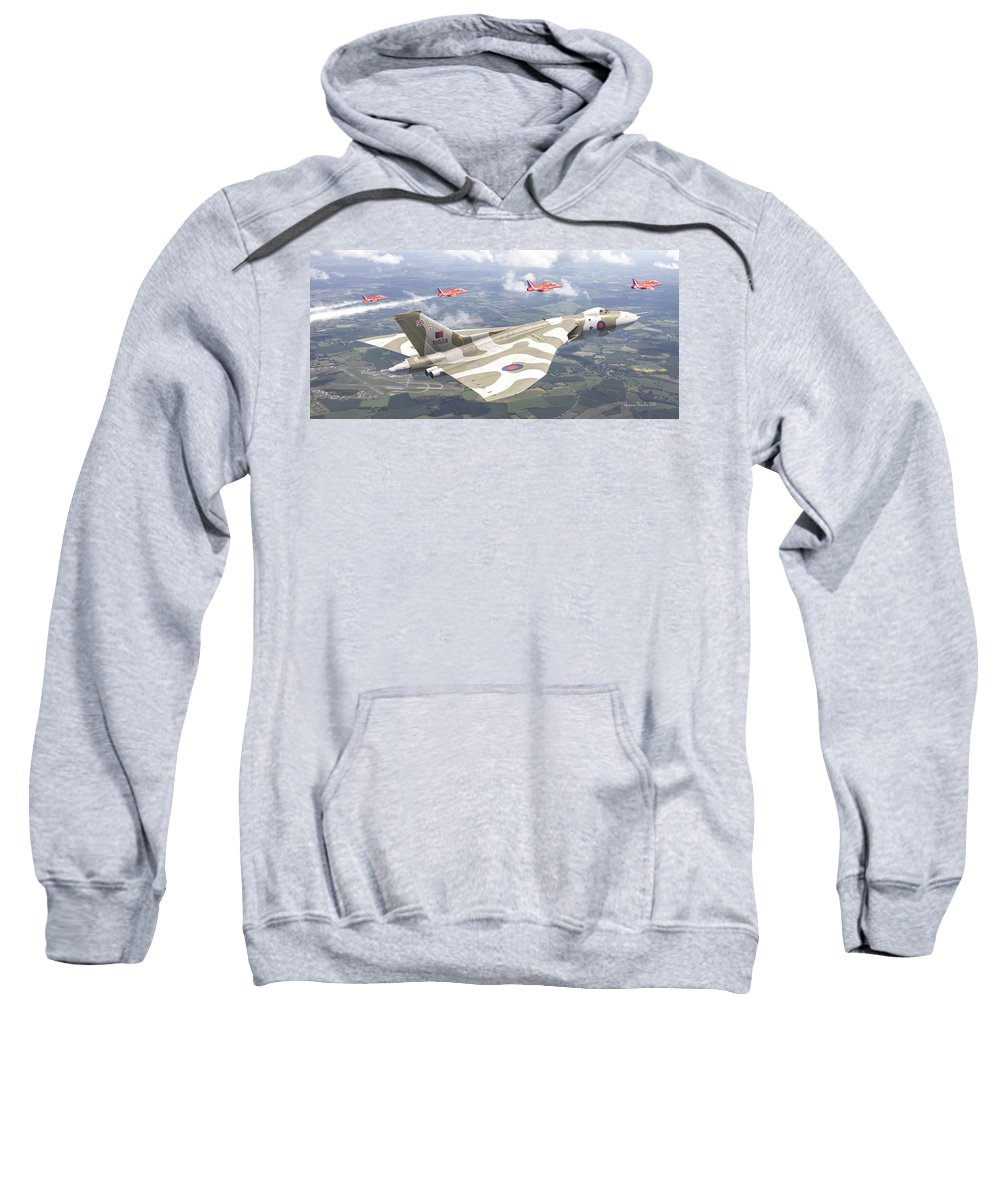 4d Aerial Air Aviation Avro British Cinema Digital Falkland Force Raf Vulcan War Antonis Xh558 Karidis Art Last Royal Escort - Avro Vulcan Sweatshirt featuring the photograph Last Royal Escort - Avro Vulcan by Antonis Karidis