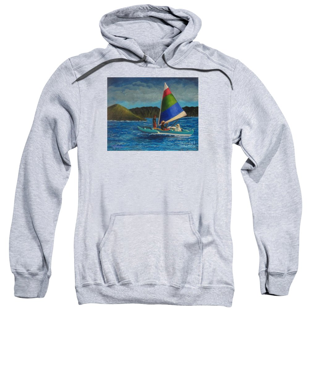Sailboats Sweatshirt featuring the painting Last Sail Before The Storm by Laurie Morgan