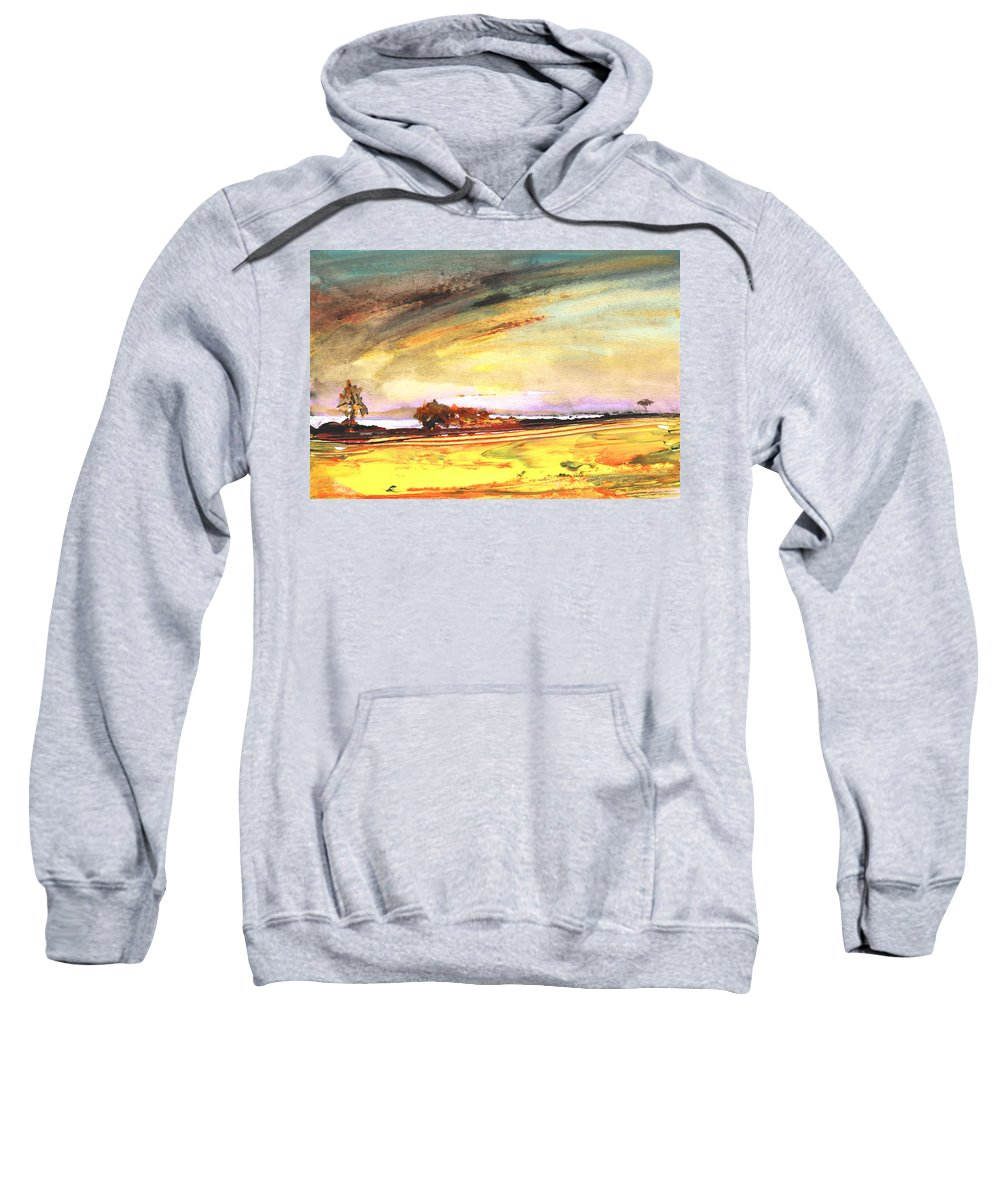 Watercolour Landscape Sweatshirt featuring the painting Late Afternoon 31 by Miki De Goodaboom