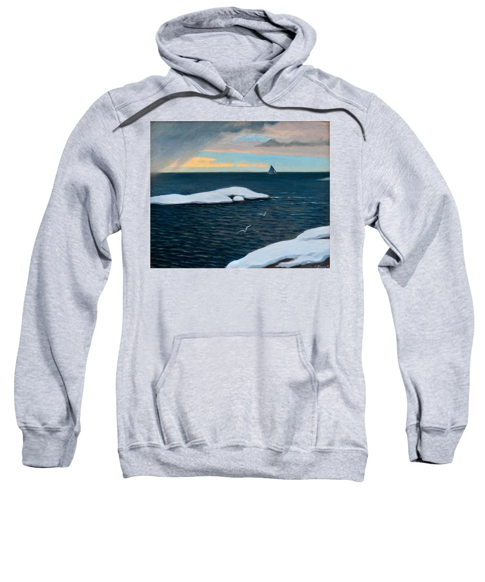 Vaino Blomstedt Sweatshirt featuring the painting Late Fall At Sea by Vaino Blomstedt