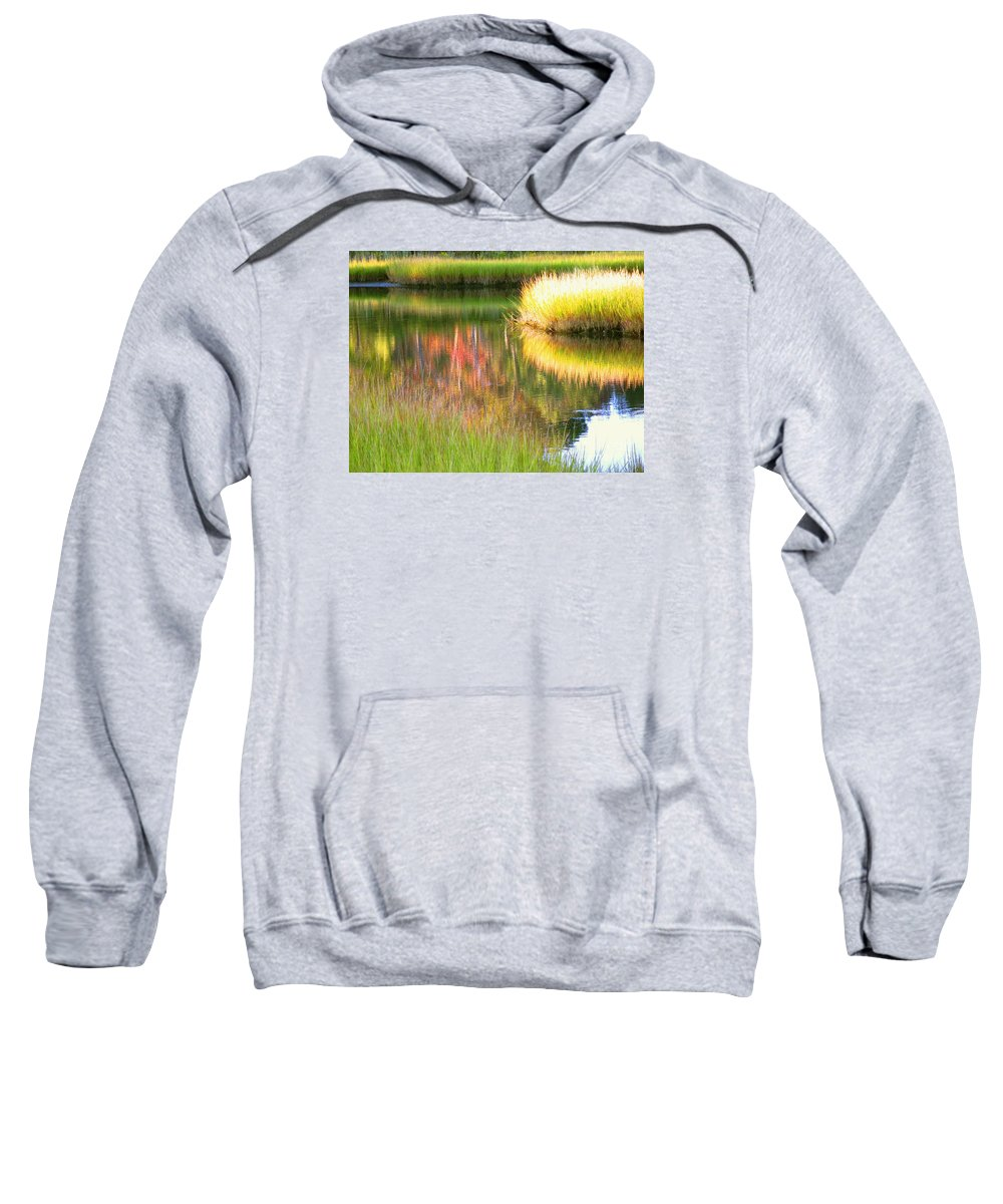 Abstract Sweatshirt featuring the photograph Stillness Of Late Summer Marsh by Sybil Staples