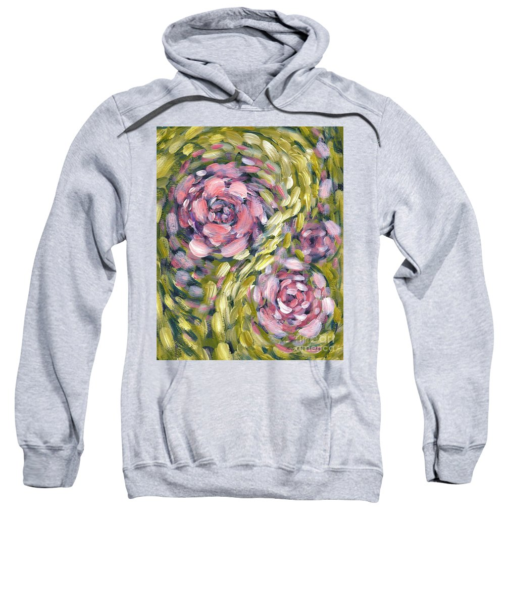 Roses Sweatshirt featuring the digital art Late Summer Whirl by Holly Carmichael