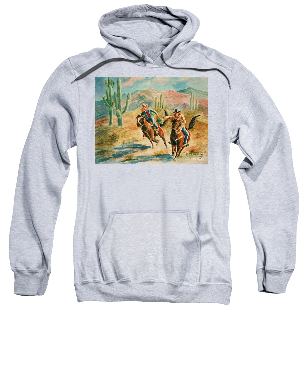 Pony Express Sweatshirt featuring the painting Lateral Pass by Marilyn Smith