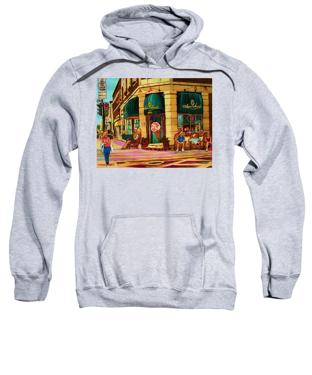 Montreal Streetscenes Sweatshirt featuring the painting Laura Secord Candy And Cone Shop by Carole Spandau