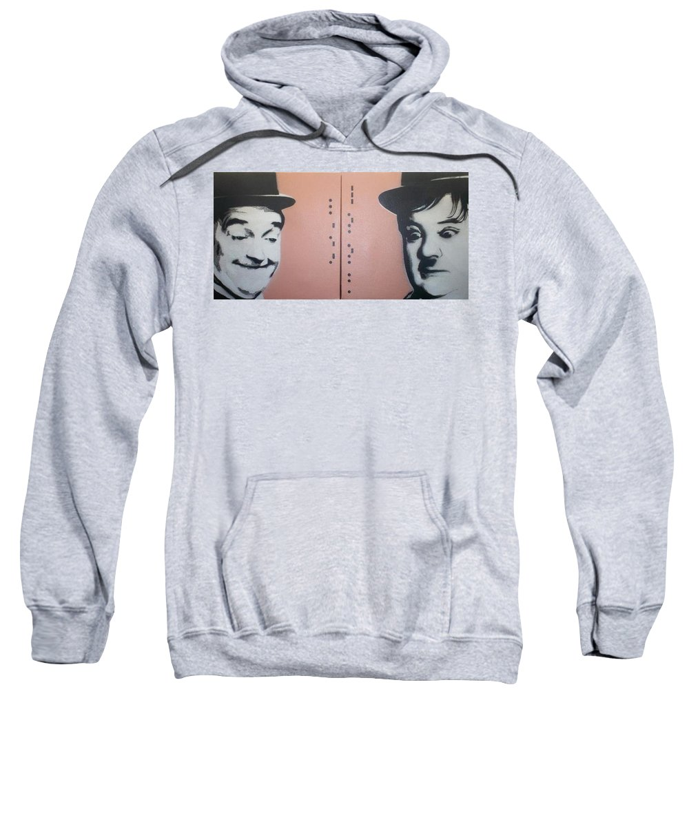 Laurel And Hardy Sweatshirt featuring the painting Laurel And Hardy by Gary Hogben