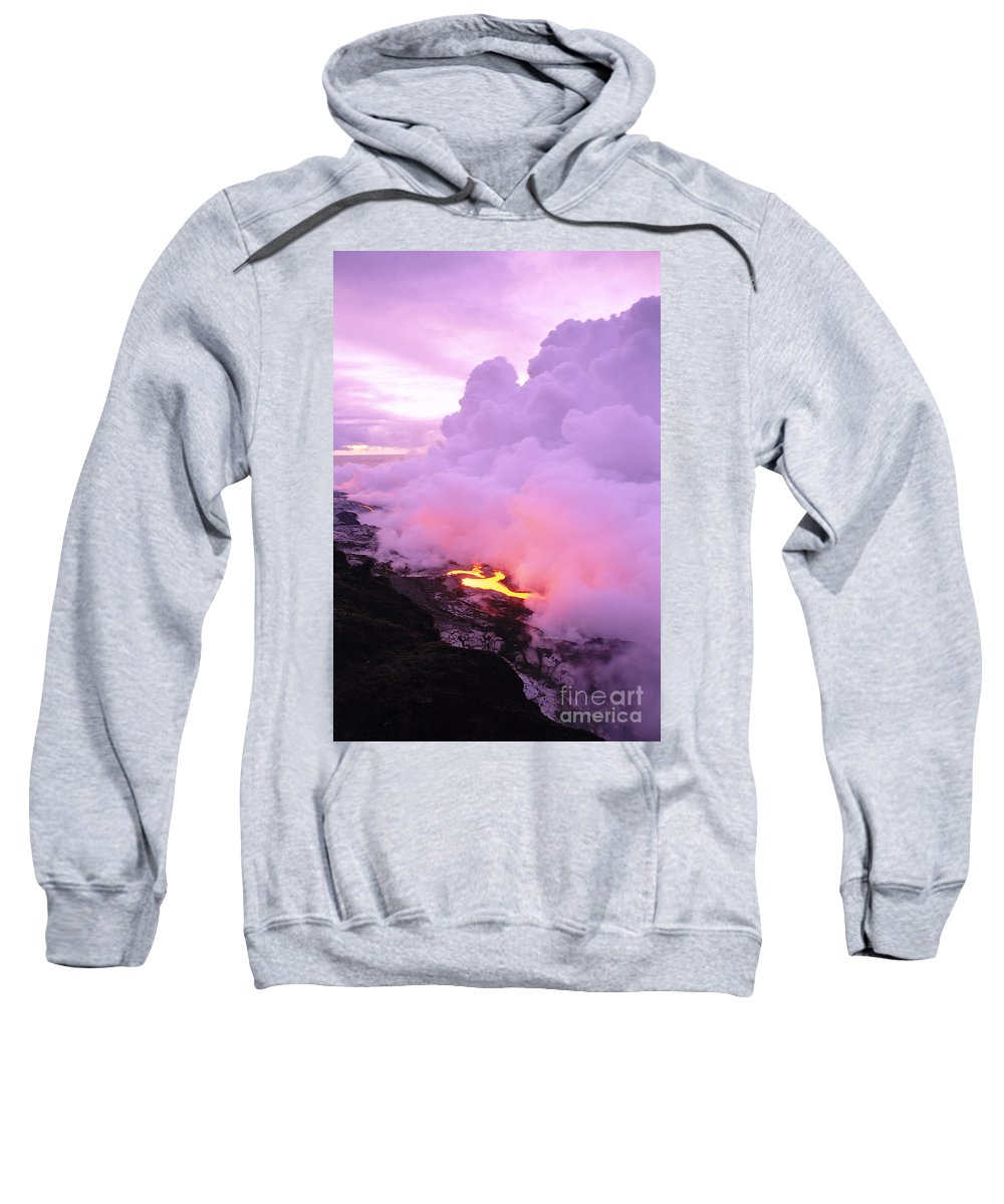 A'a Sweatshirt featuring the photograph Lava Enters Ocean by Peter French - Printscapes