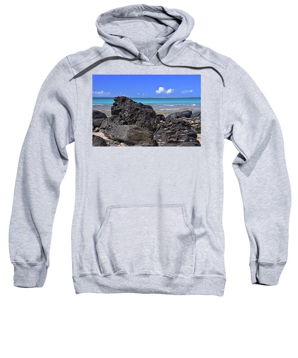 Hawaii Sweatshirt featuring the photograph Lava Rocks At Haena Beach by Marie Hicks