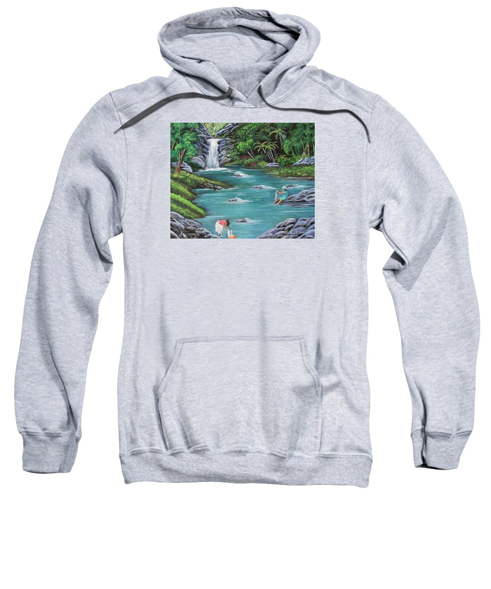 Quebrada Sweatshirt featuring the painting Lavando Ropa  Washing Clothes by Luis F Rodriguez