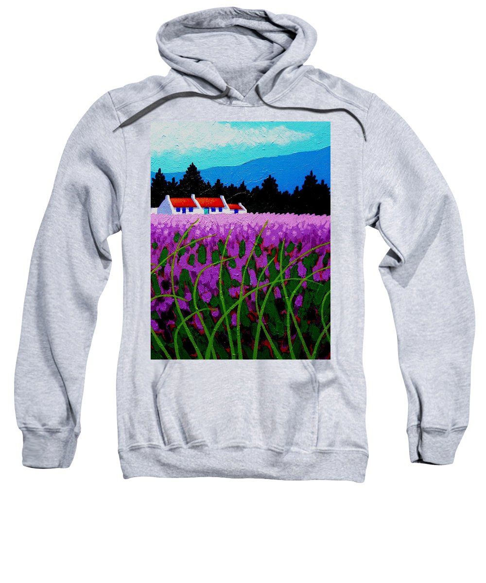 Lavender Sweatshirt featuring the painting Lavender Field - County Wicklow - Ireland by John Nolan