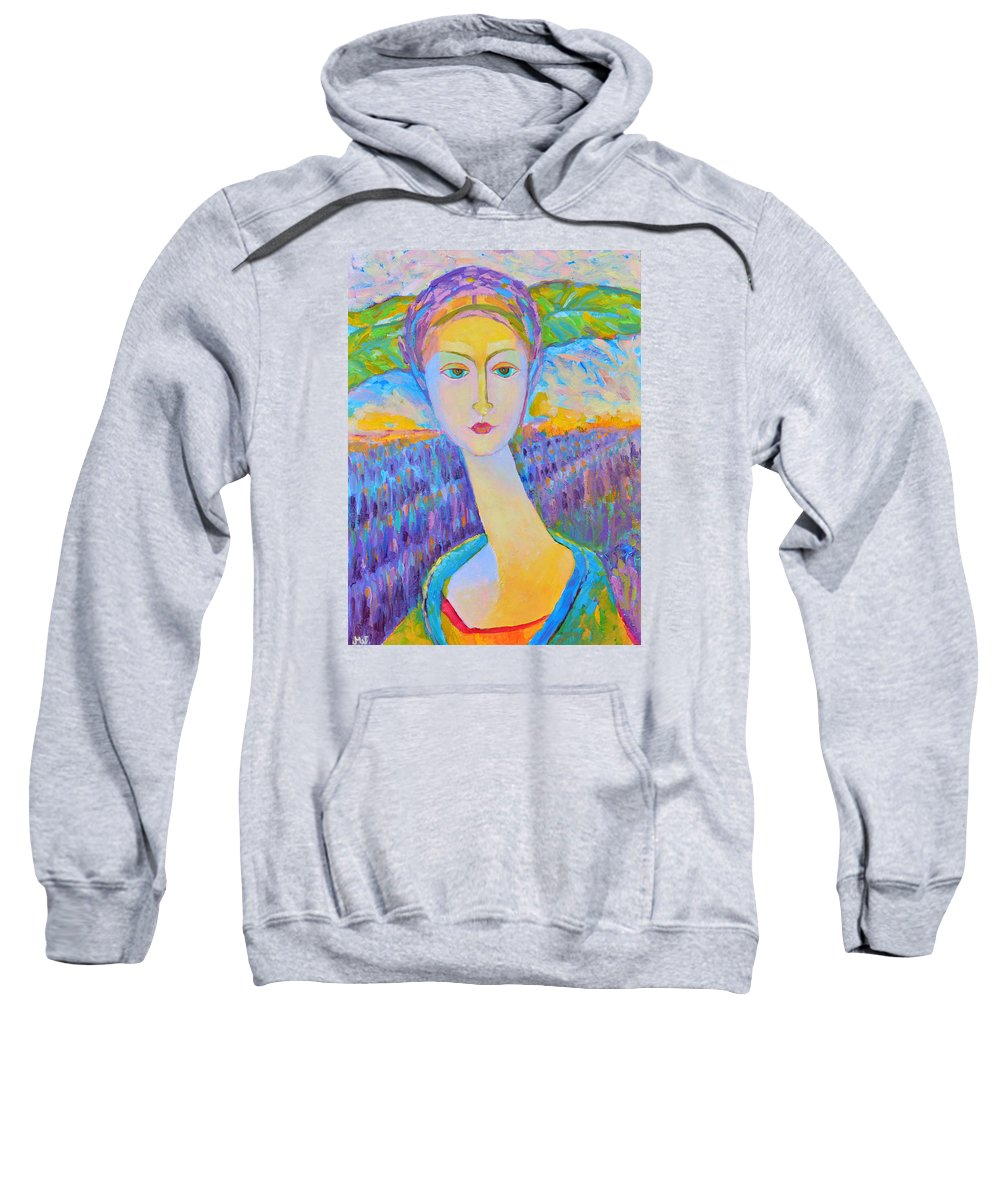 Lavender Fields Sweatshirt featuring the painting Lavender Lady Art Deco, Decorative Woman Painting, Woman Figure Print For Sale. Pretty Girl Canvas by Magdalena Walulik