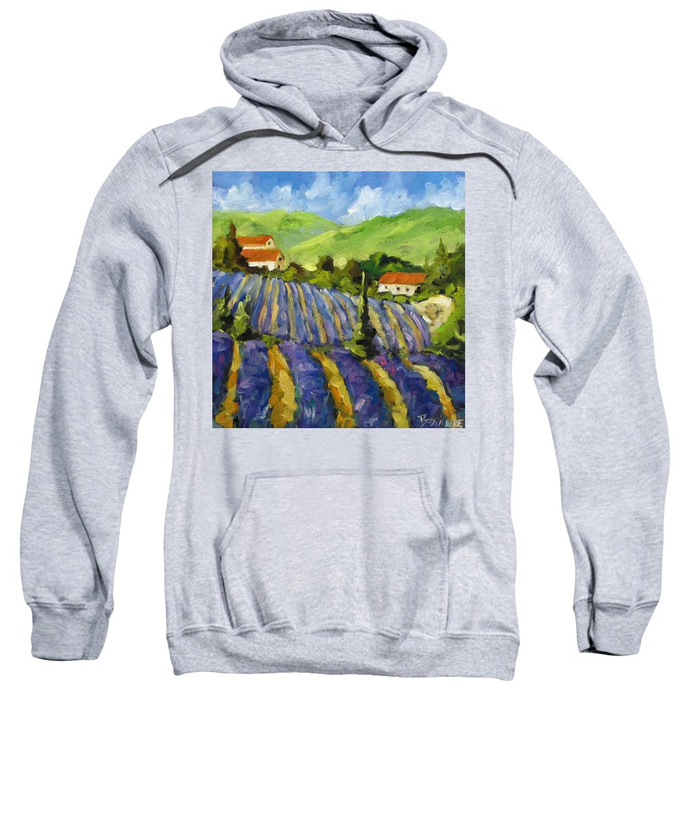 Art Sweatshirt featuring the painting Lavender Scene by Richard T Pranke