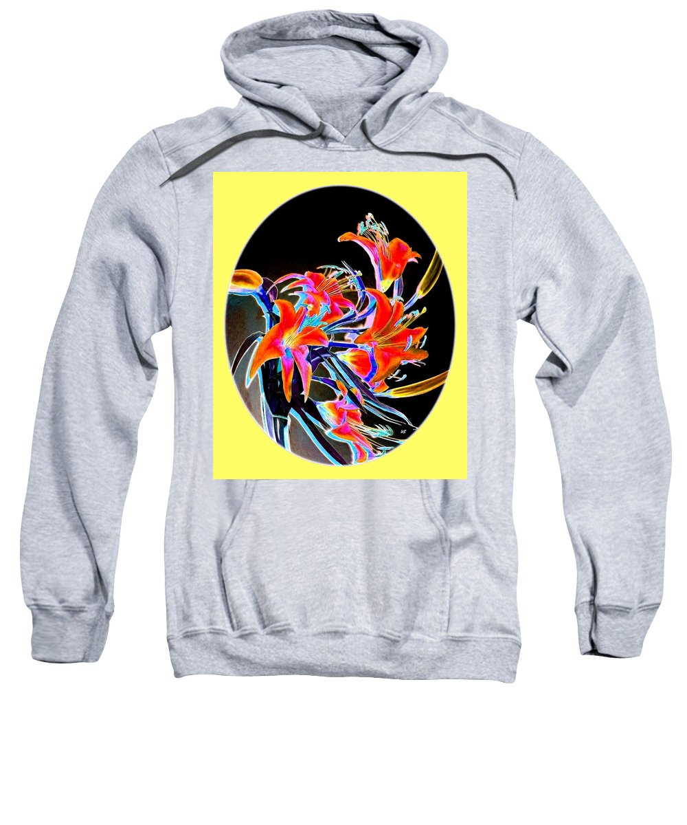 Lilies Sweatshirt featuring the digital art Lavish Lilies 2 by Will Borden