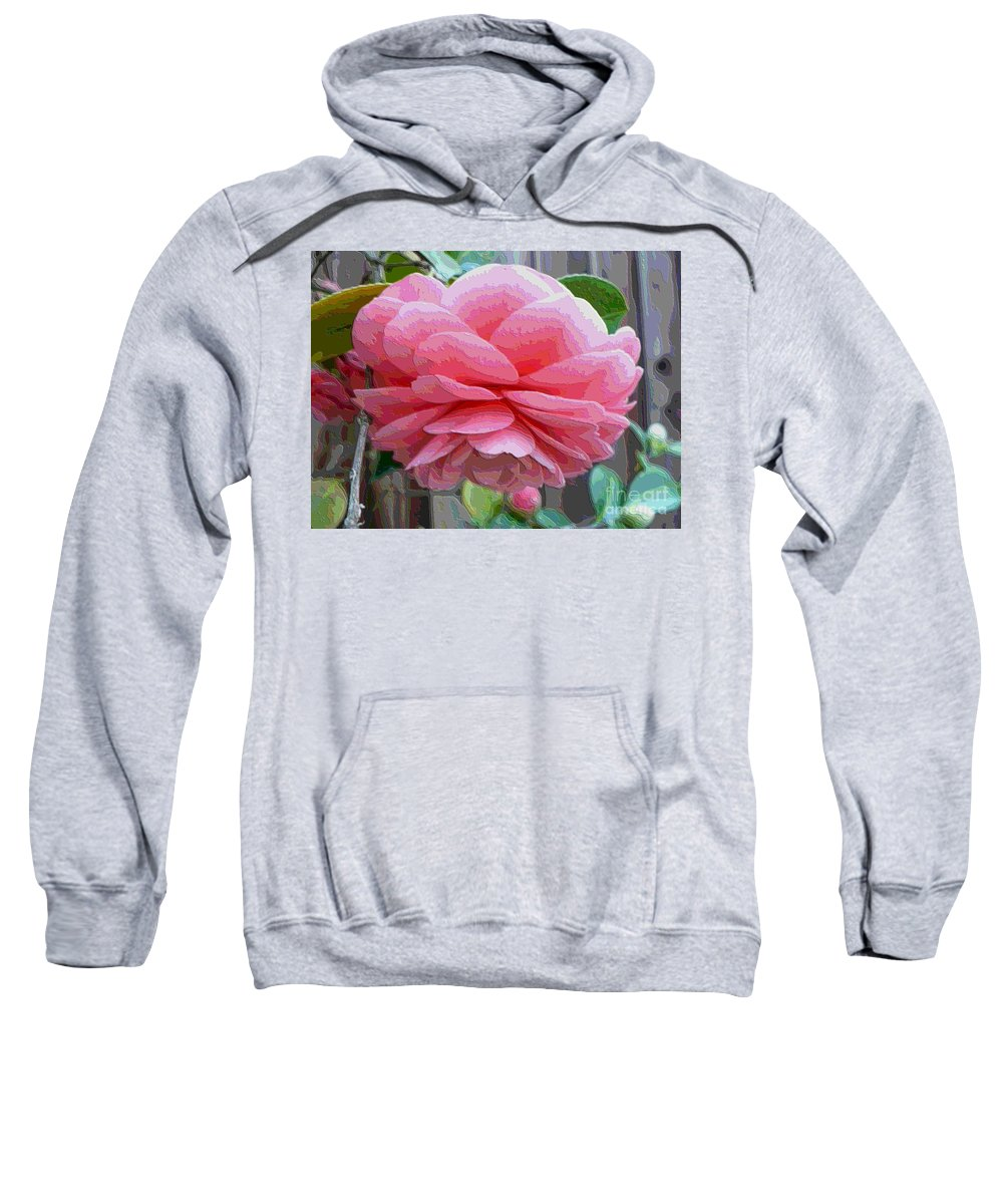 Pink Camellia Sweatshirt featuring the photograph Layers Of Pink Camellia - Digital Art by Carol Groenen