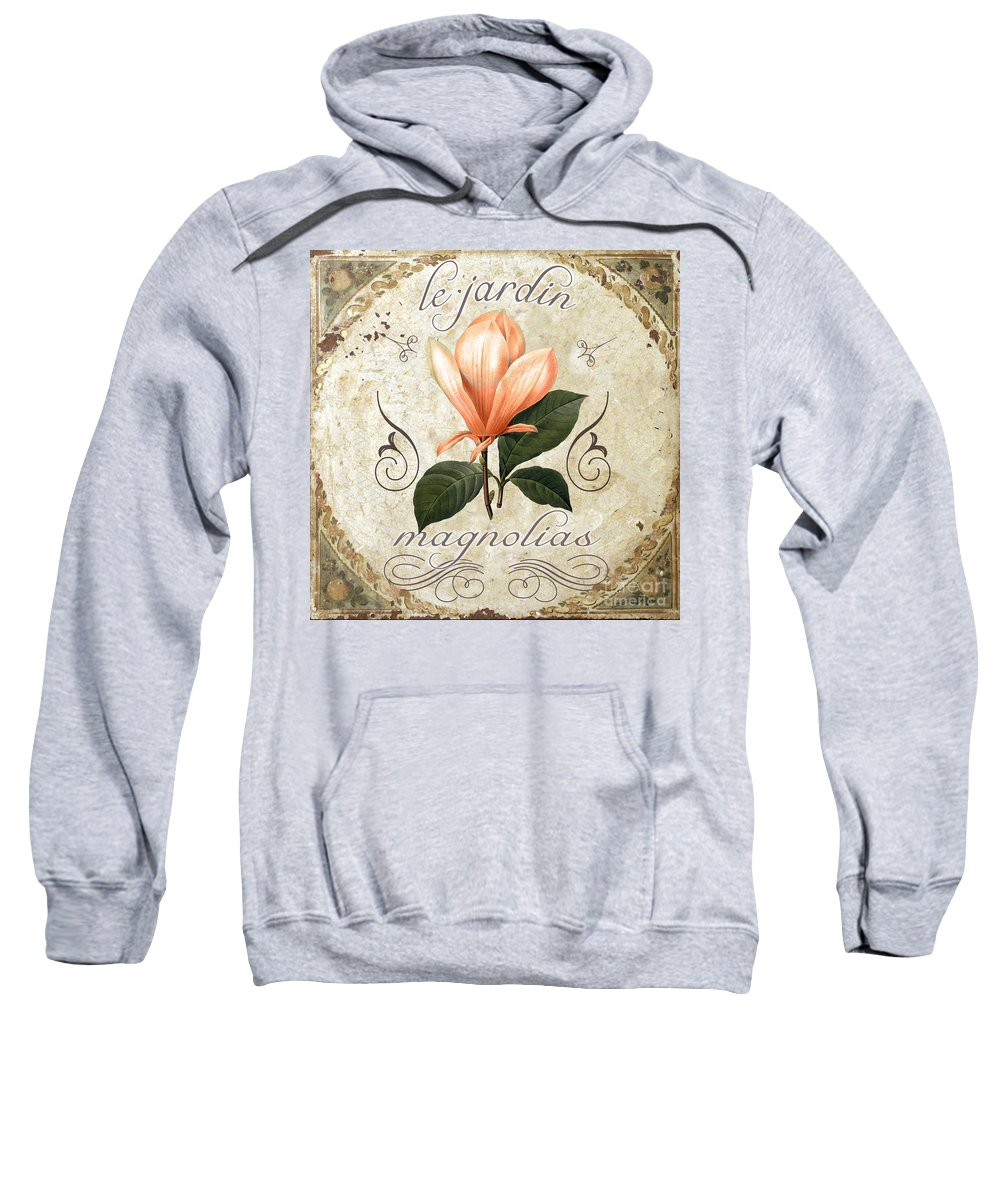 Coral Magnolias Sweatshirt featuring the painting Le Jardin Magnolias by Mindy Sommers