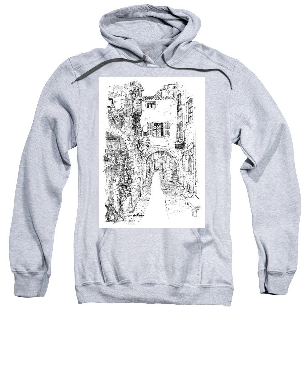 Architecture Sweatshirt featuring the drawing Le Pontis Saint-paul De Vence France by Ken Pieper