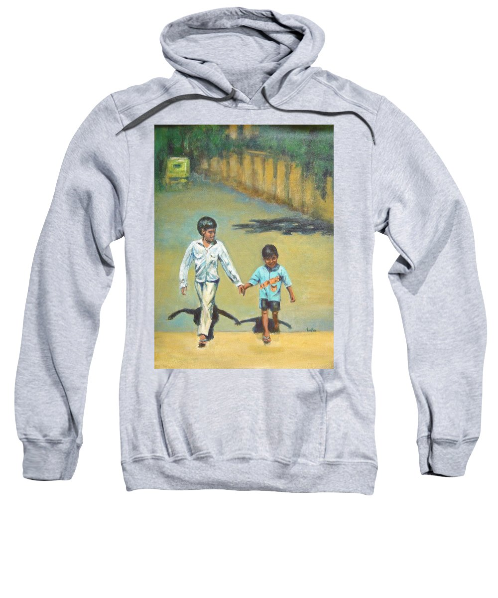 Lead Sweatshirt featuring the painting Lead Kindly Brother by Usha Shantharam
