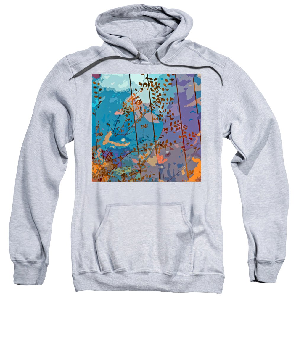 Leaves Sweatshirt featuring the painting Leaves And Wire by Stephen Anderson