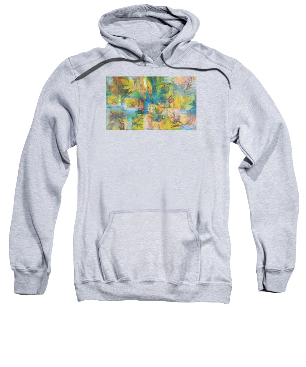 Abstract Sweatshirt featuring the painting Leaves by Becky Chappell