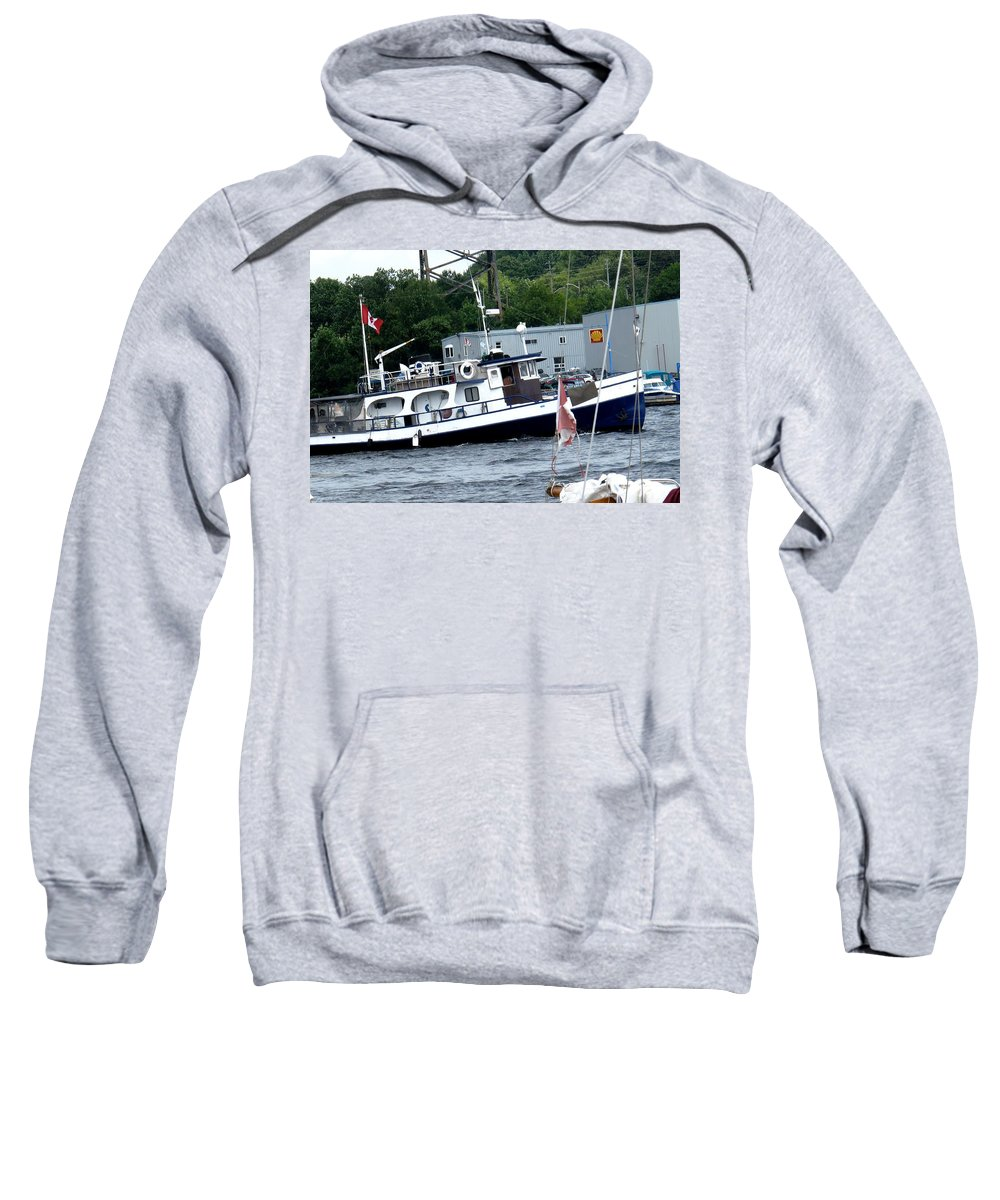 Boat Sweatshirt featuring the photograph Leaving Harbor by Ian MacDonald