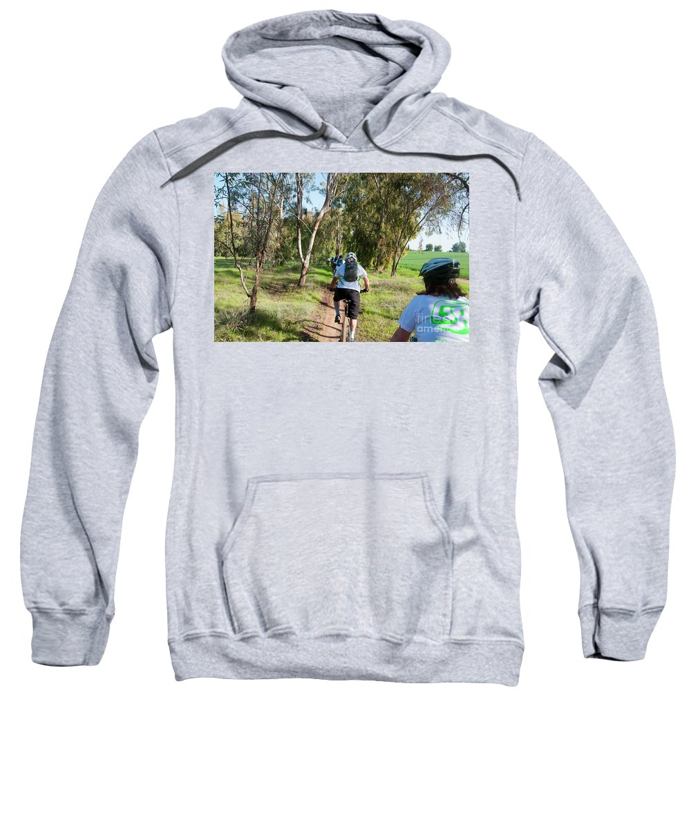 Group Sweatshirt featuring the photograph Leisure Cross Contry Cyclists by Ilan Rosen