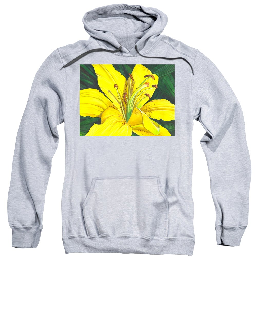 Lily Sweatshirt featuring the painting Lemon Lily by Catherine G McElroy