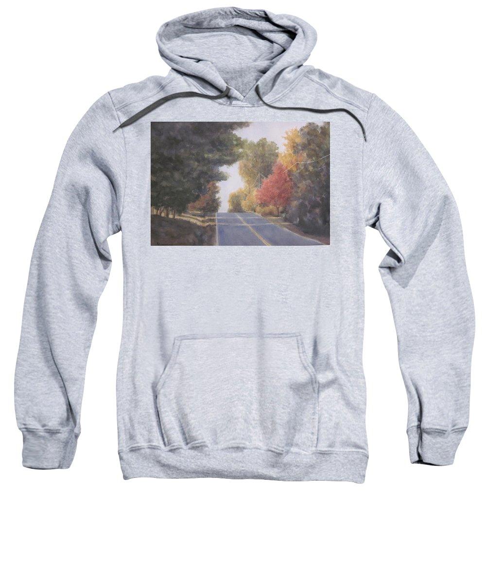Landscape Sweatshirt featuring the mixed media Lengthening Shadows by Karen Cummings