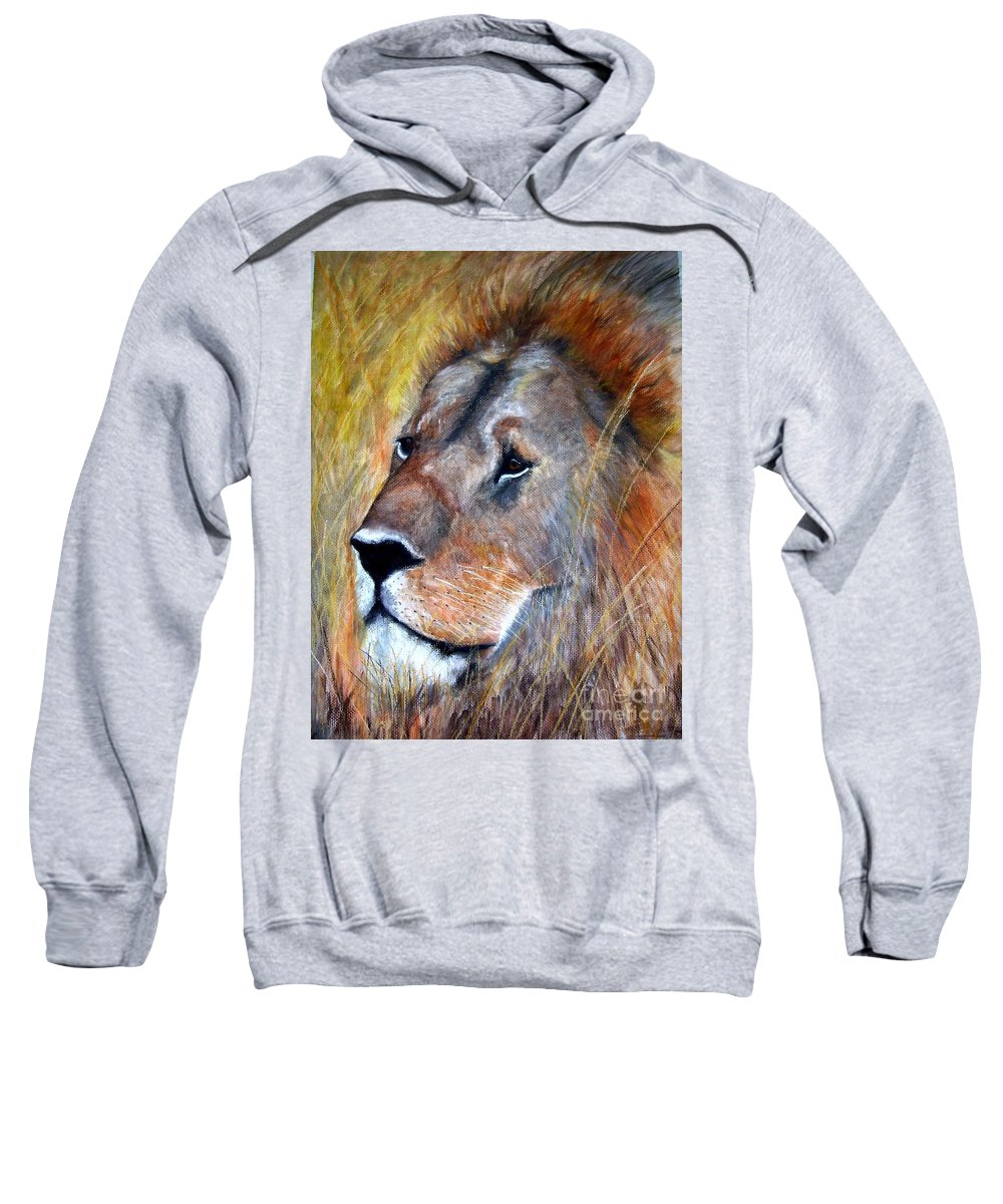 Lion Sweatshirt featuring the painting leo by Frances Marino