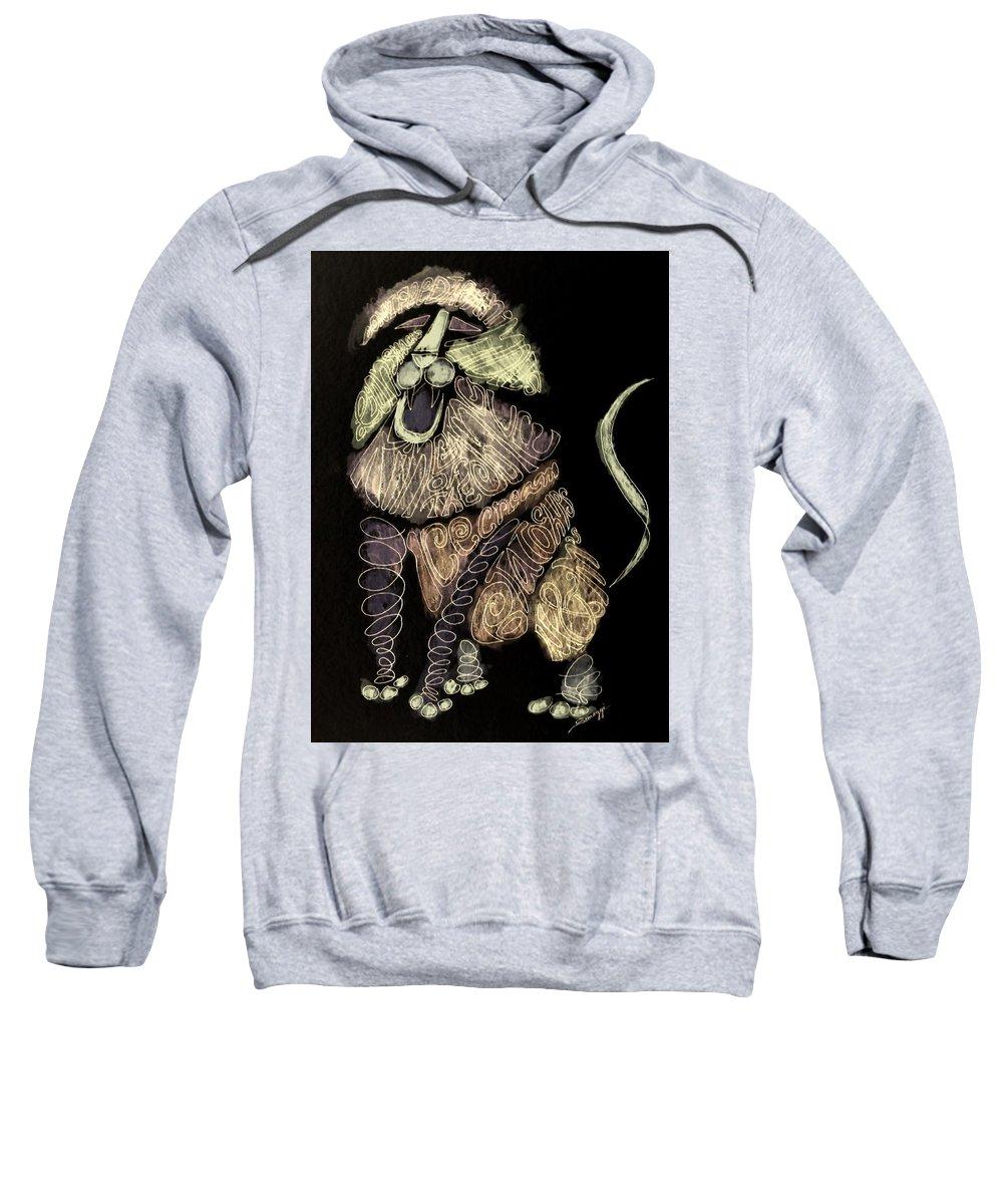 Lion Sweatshirt featuring the painting Leo, Rampant -- Negative Sepia by Jayne Somogy