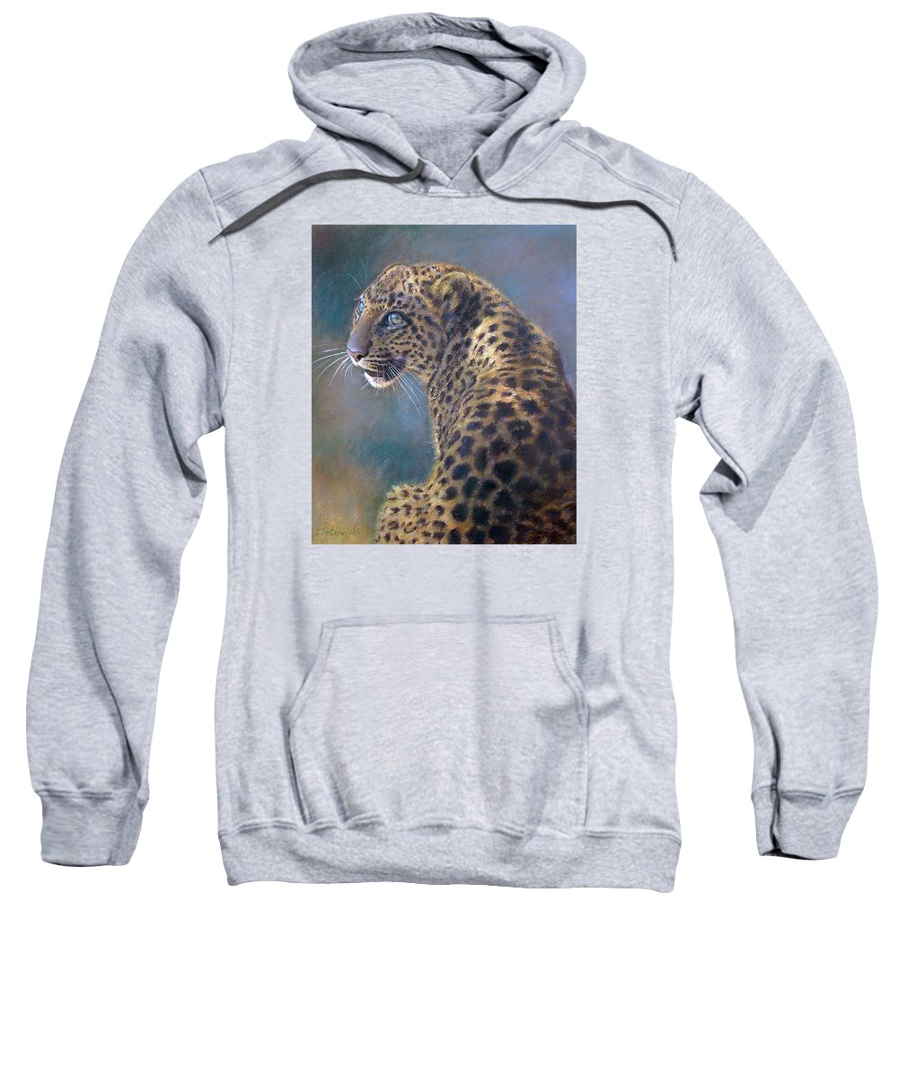 Cats Sweatshirt featuring the pastel Leopard by Iliyan Bozhanov