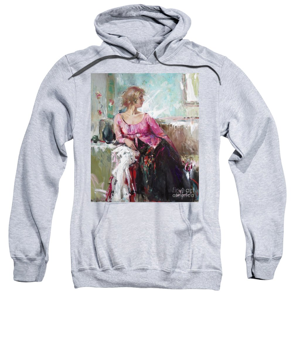 Ignatenko Sweatshirt featuring the painting Lera by Sergey Ignatenko