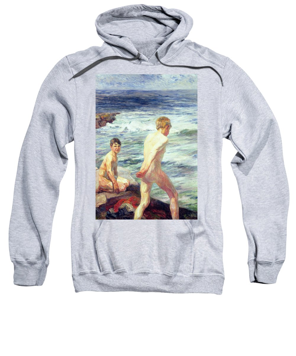 Bathers; Bathing; Beach; Seashore; Seaside; Rocks; Nude; Male; C19th; C20th Sweatshirt featuring the painting Les Baigneurs by Jean Delvin