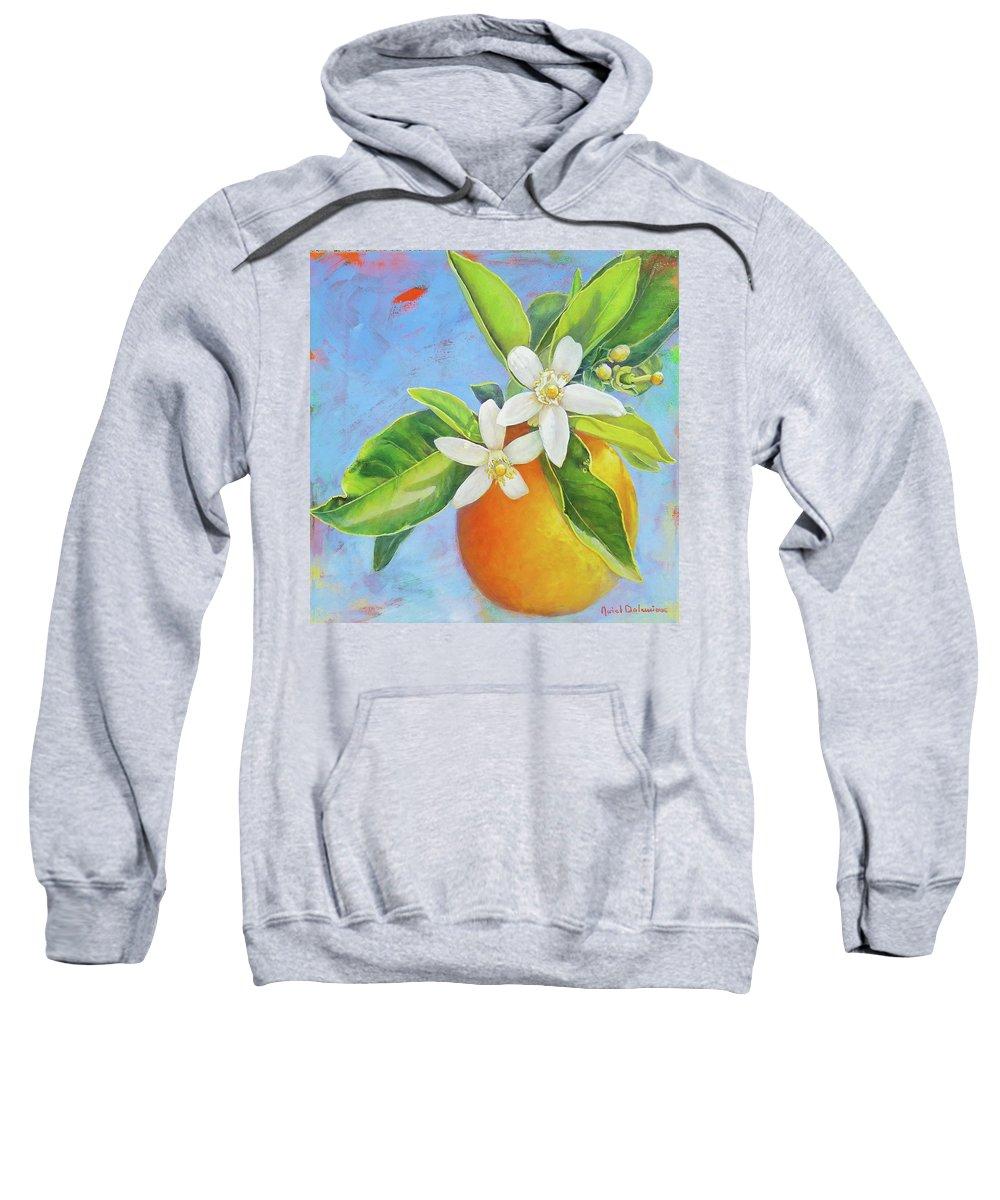 Floral Painting Sweatshirt featuring the painting Les Deux Fleurs by Muriel Dolemieux