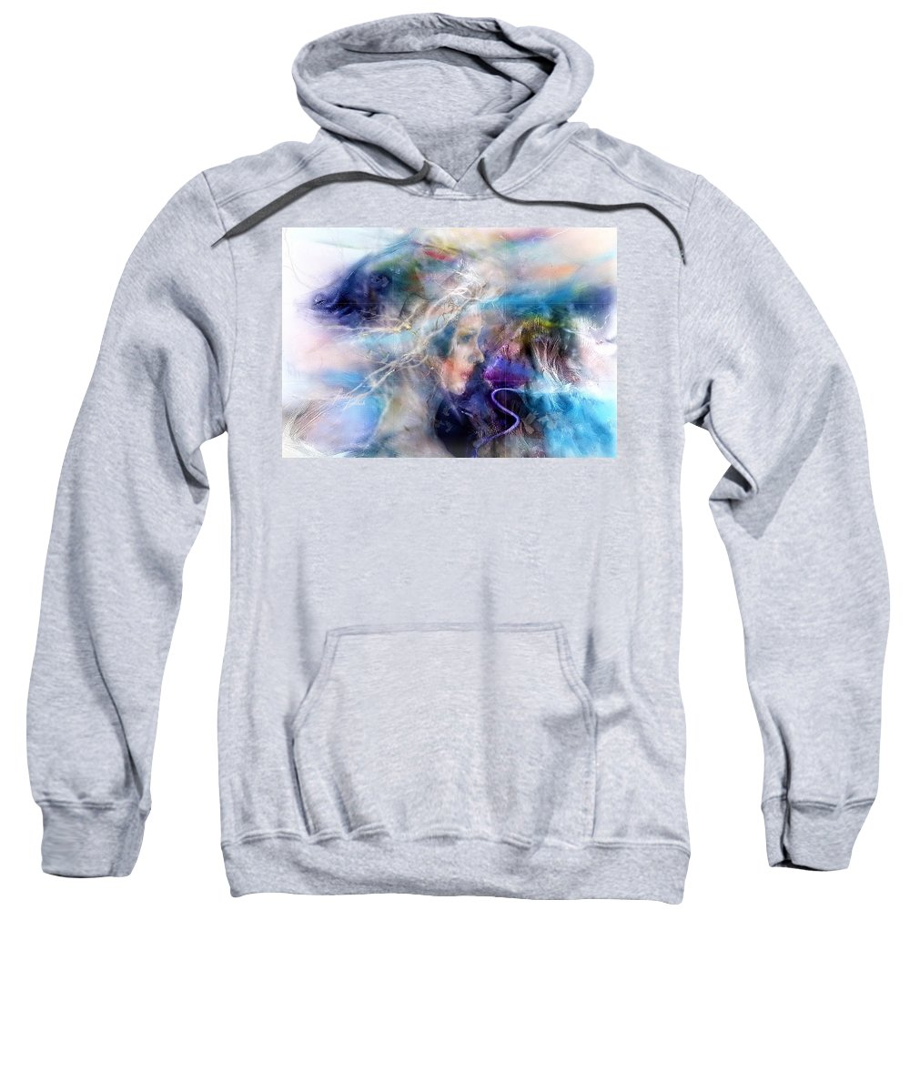 Woman Sweatshirt featuring the painting Les Souvenirs Qui Passent. by Freddy Kirsheh