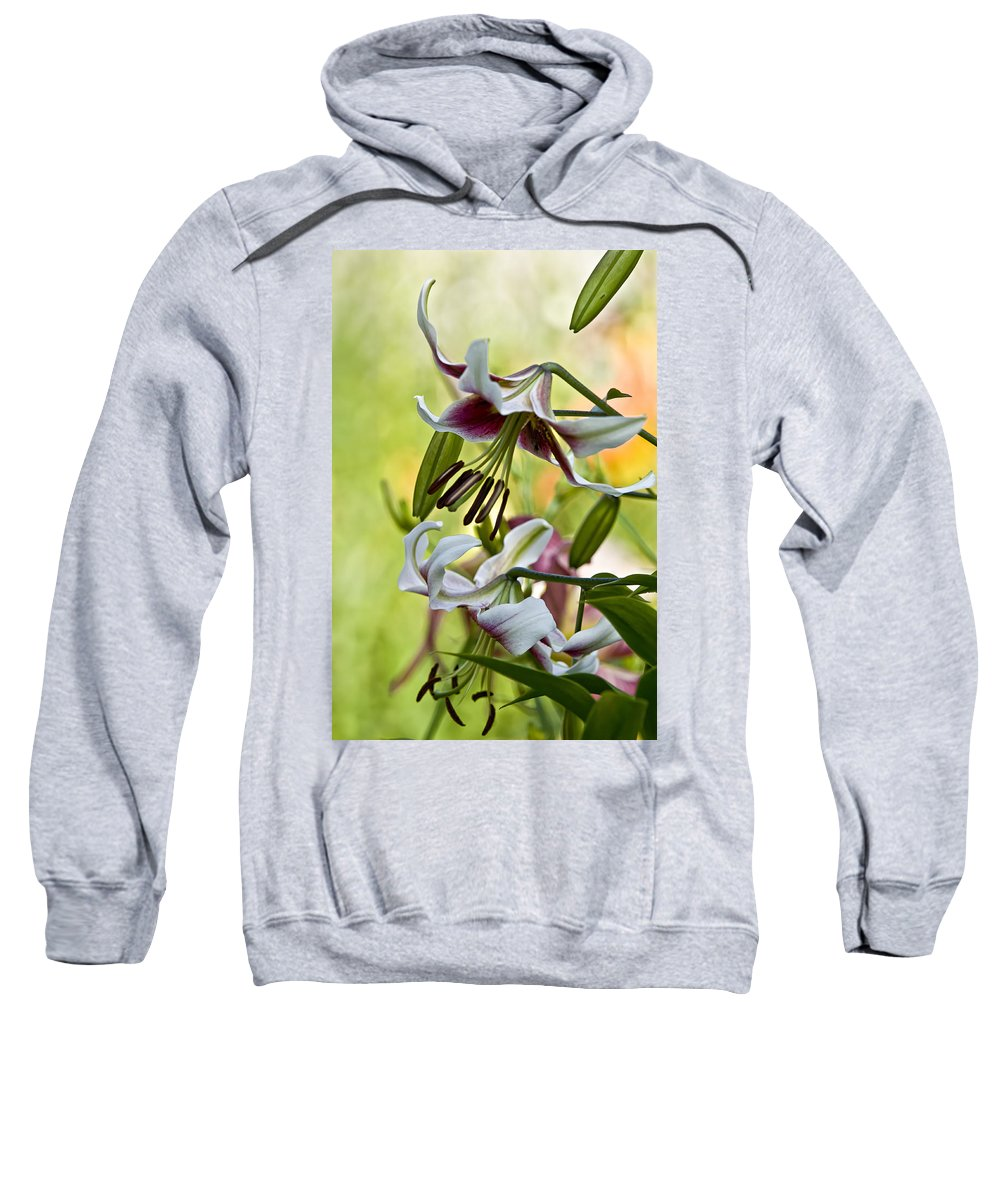 Gardens Sweatshirt featuring the photograph Leslie Woodriffe Lily by Michael Cummings