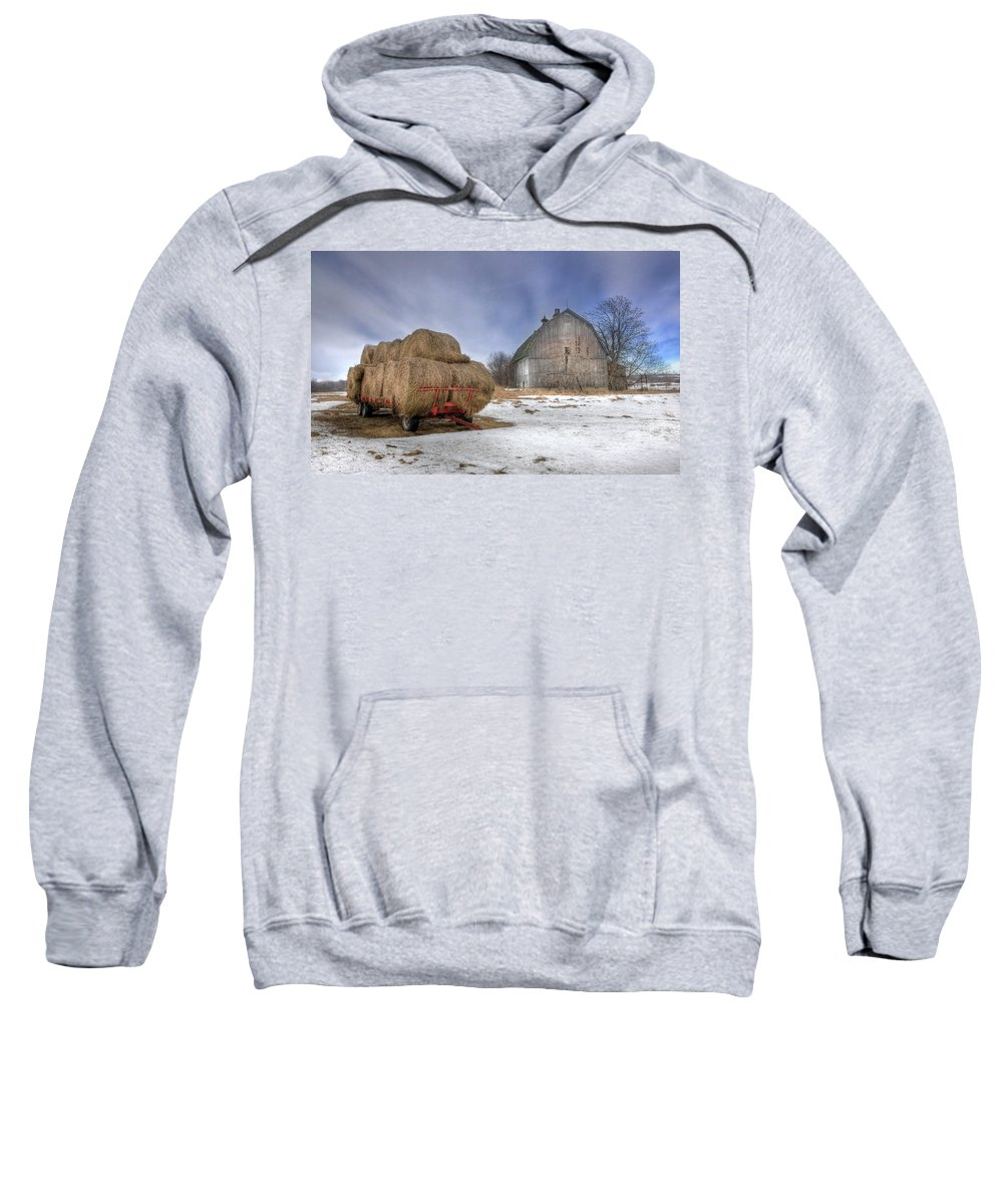 Old Barn Sweatshirt featuring the photograph Let 'em Roll by Lori Deiter