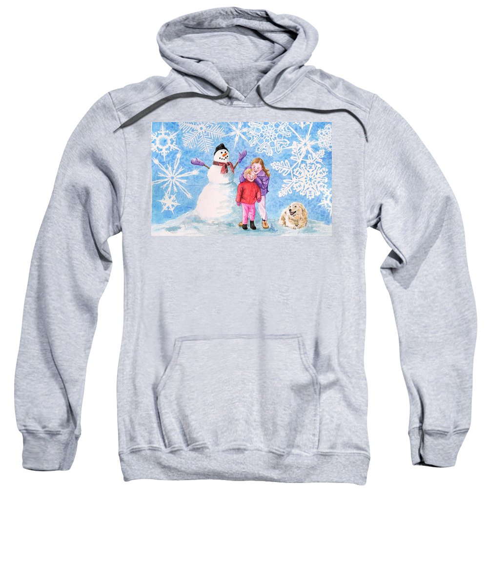 Snowman Sweatshirt featuring the painting Let It Snow by Gale Cochran-Smith