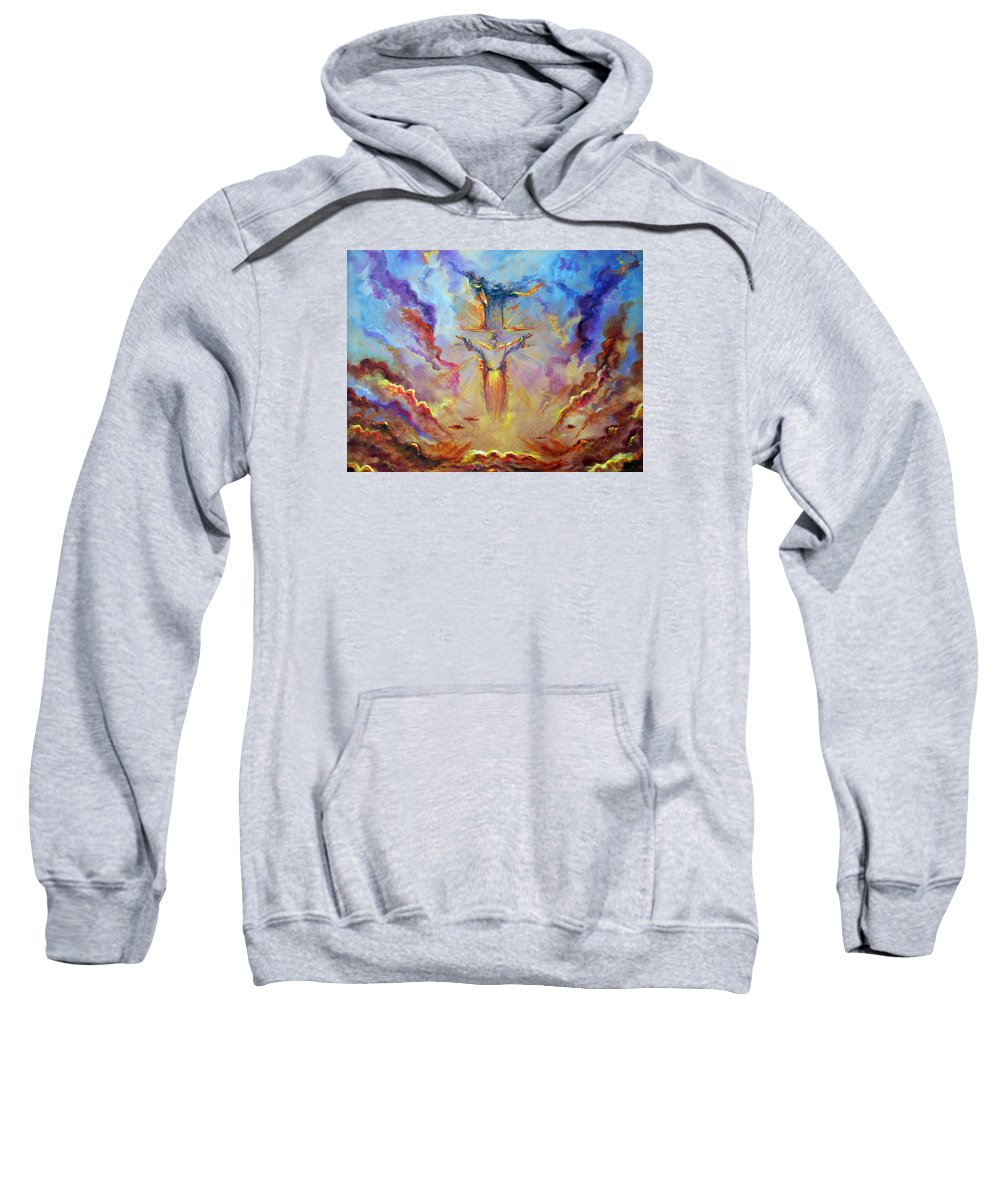 Jesus Sweatshirt featuring the painting Let The Earth Receive Her King by Tommy Winn