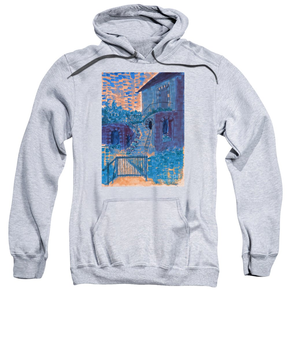 Architecture Sweatshirt featuring the painting Let Them Eat Blueberry Cake by Jayne Somogy