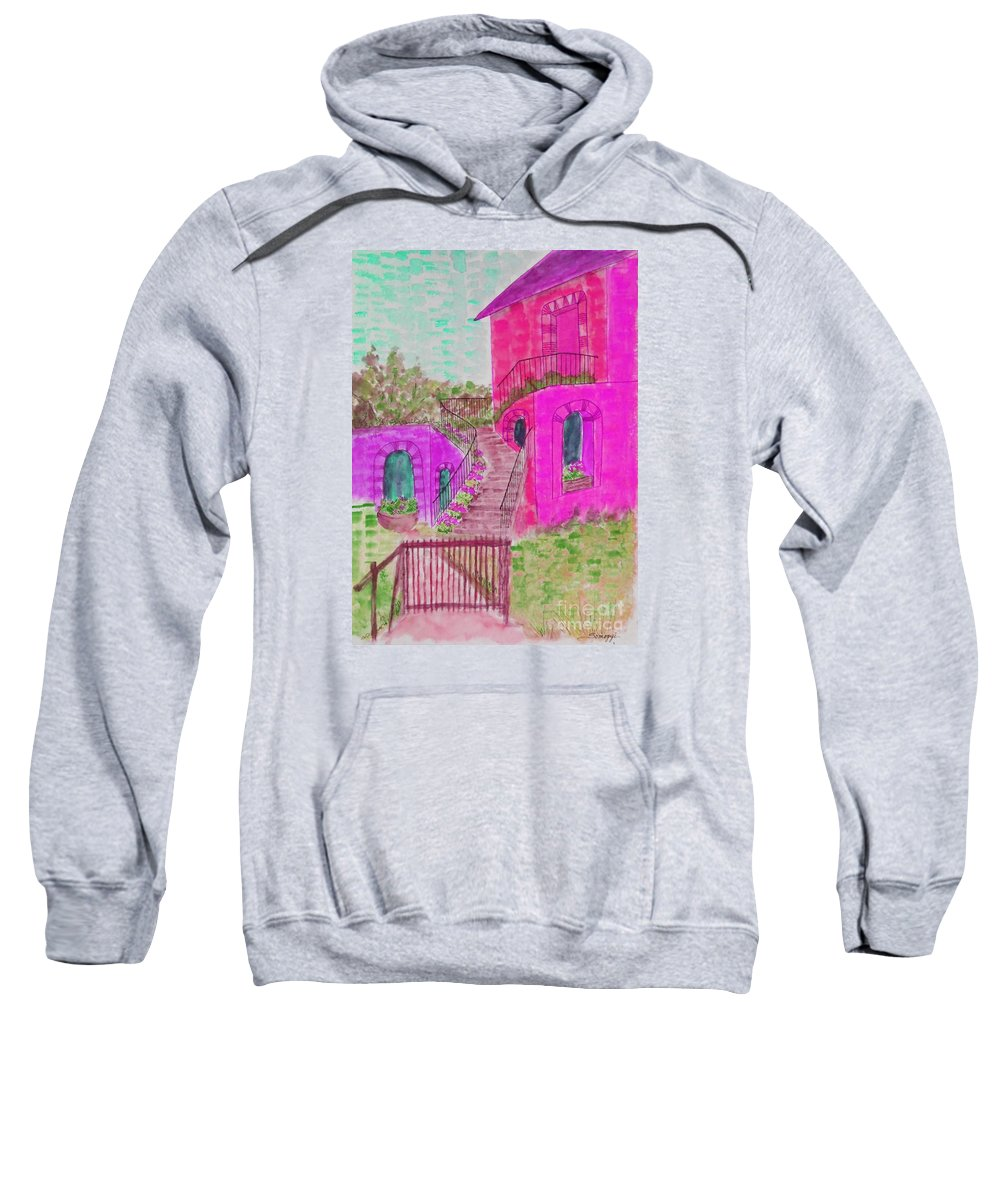 Architecture Sweatshirt featuring the painting Let Them Eat Cake Multicolor Fuchsia by Jayne Somogy