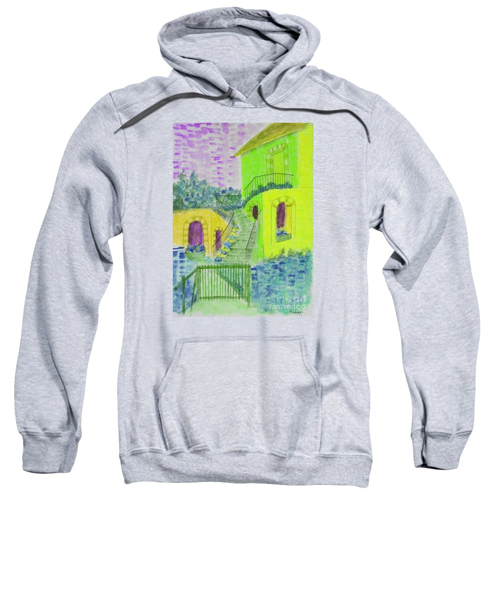 Architecture Sweatshirt featuring the painting Let Them Eat Cake Multicolor Yellow by Jayne Somogy