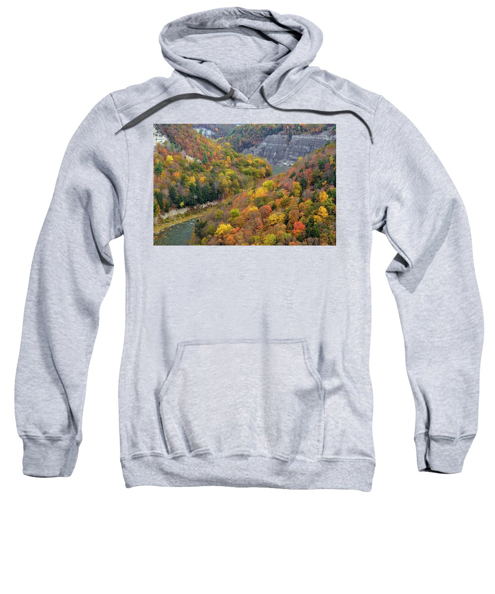 Letchworth Falls State Park Sweatshirt featuring the photograph Letchworth Falls Sp Fall Colored Gorge by Dean Hueber