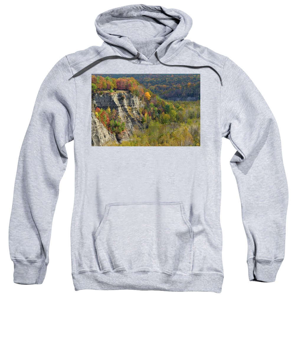 Letchworth Falls State Park Sweatshirt featuring the photograph Letchworth Falls State Park Gorge by Dean Hueber