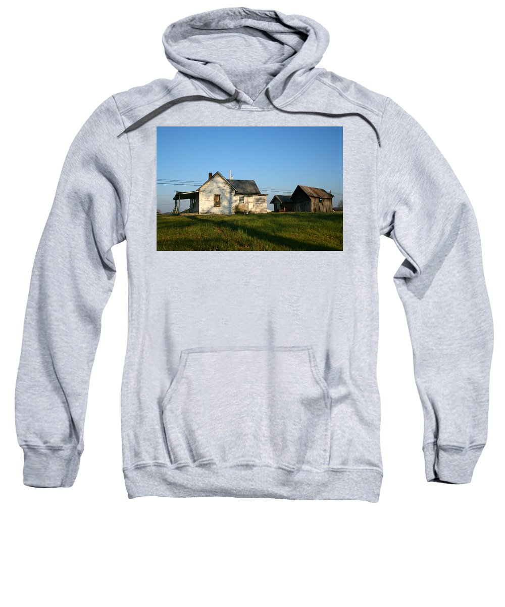 Old House Barn Life Past Age Forgotten Forget Time Left Leave Blue Green White Kentucky Ky Country Sweatshirt featuring the photograph Life Behind by Andrei Shliakhau