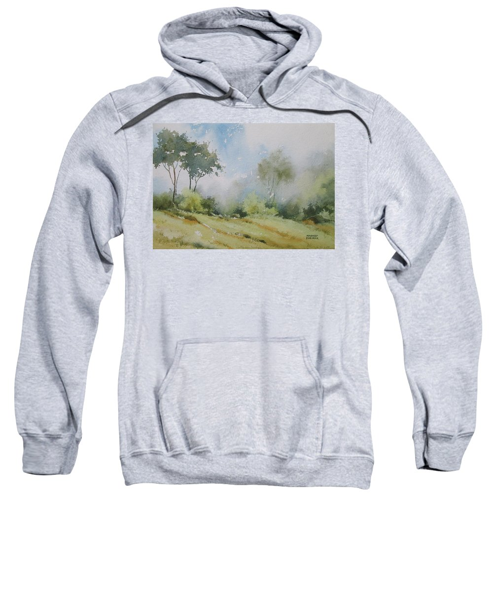 Landscapes Sweatshirt featuring the painting Life On The Edge by Sandeep Khedkar
