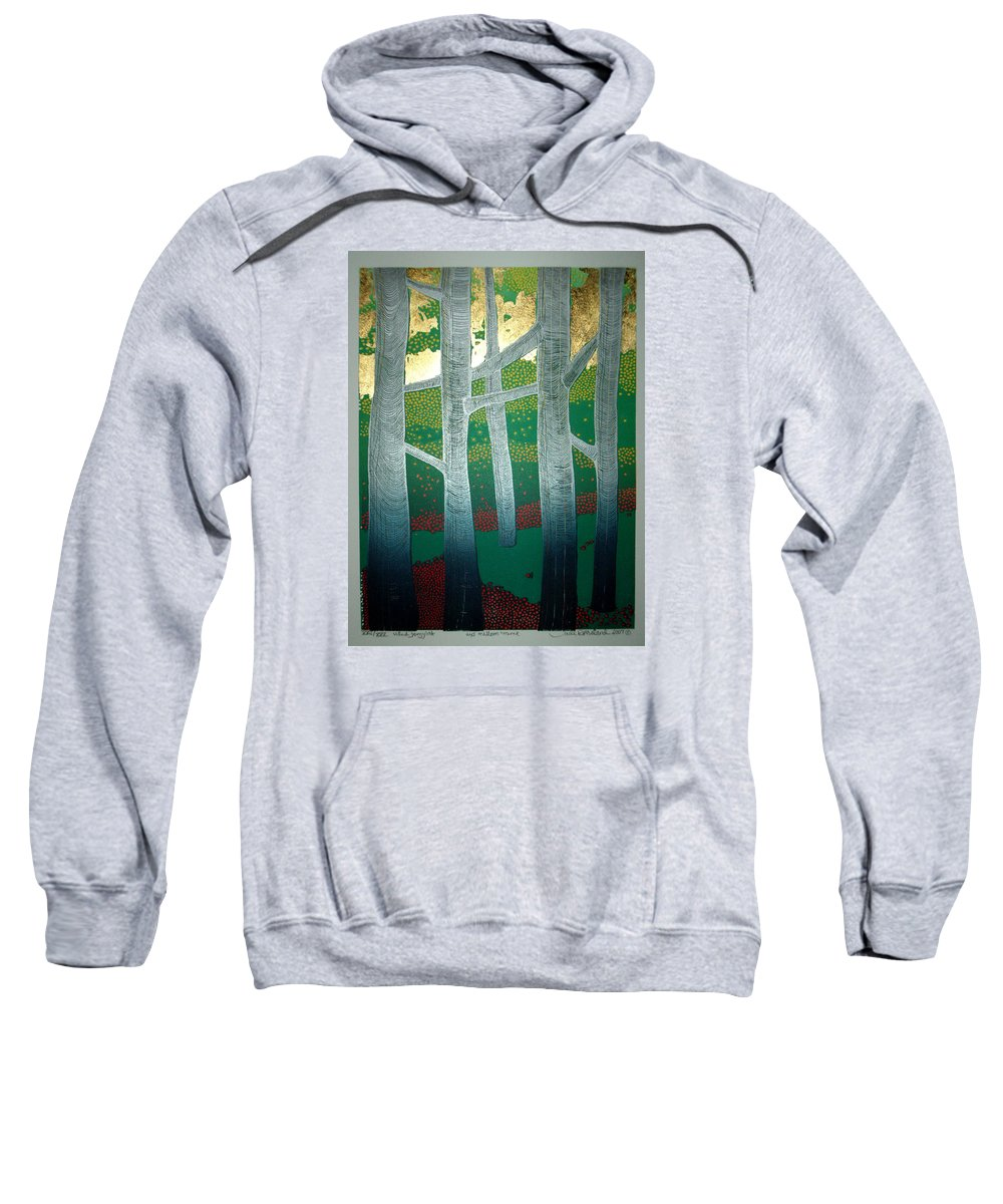Landscape Sweatshirt featuring the mixed media Light Between The Trees by Jarle Rosseland
