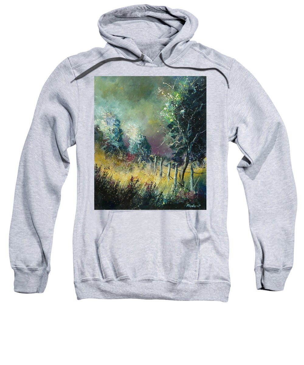 Landscape Sweatshirt featuring the painting Light On Trees by Pol Ledent