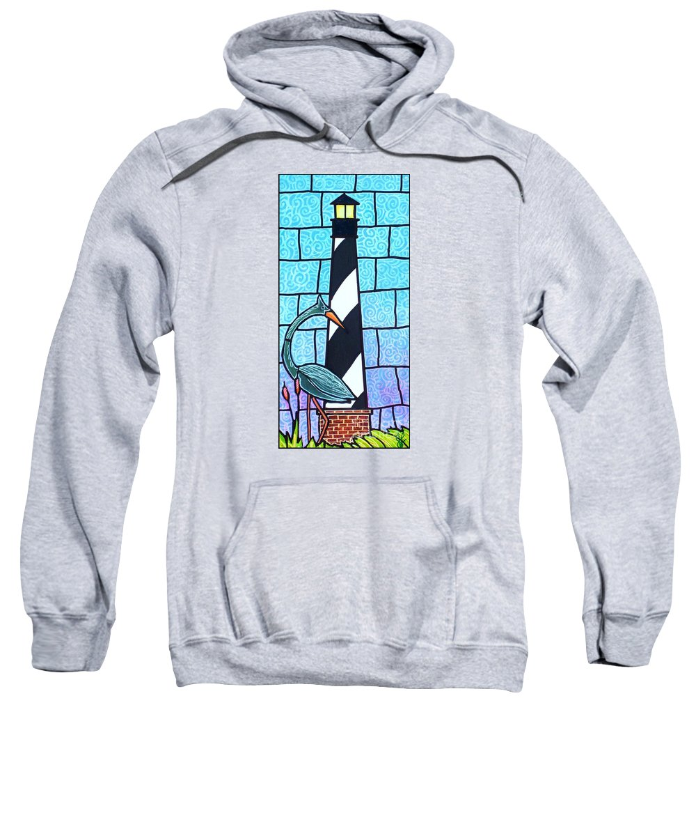 Summer Sweatshirt featuring the painting Lighthouse And Heron by Jim Harris