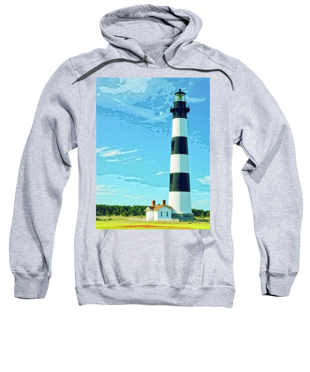 Lighthouse Sweatshirt featuring the mixed media Lighthouse Bodie Island by Dominic Piperata